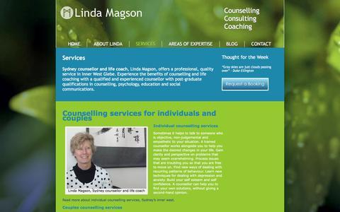 Screenshot of Services Page lindamagsoncounselling.com.au - Counselling services | Life coaching | Sydney | Inner West | Glebe - captured July 14, 2016