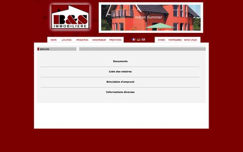 Screenshot of Services Page bsimmo.lu - Immobilier - Ventes - Locations - Nouvelles constructions - captured Nov. 1, 2014