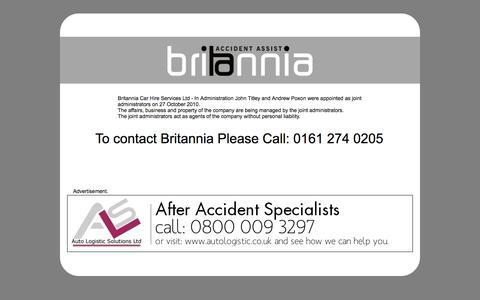Screenshot of Home Page britanniaassist.co.uk - Britannia Accident Assist - captured Oct. 5, 2014