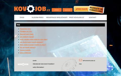 Screenshot of FAQ Page kovojob.cz - FAQ :: KOVOJOB - nabídka práce a volných pracovních míst - captured Jan. 19, 2016