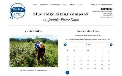 Screenshot of Home Page blueridgehikingco.com - Guided Hikes, Books, and Presentations | Blue Ridge Hiking Co. - captured July 29, 2016