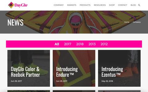 Screenshot of Press Page dayglo.com - DayGlo Color Corp | News and Product Releases - captured Nov. 13, 2018