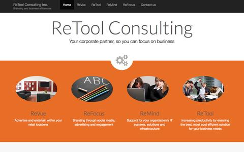 Screenshot of Home Page retoolconsulting.com - ReTool Consulting Inc. | Branding and business efficencies - captured Oct. 6, 2014