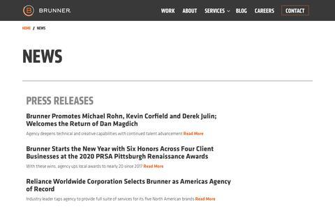 Screenshot of Press Page brunnerworks.com - News Articles | Brunner - captured Feb. 14, 2020