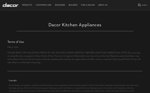 Screenshot of Terms Page dacor.com - Terms and Conditions   Dacor Appliances - captured Aug. 5, 2018