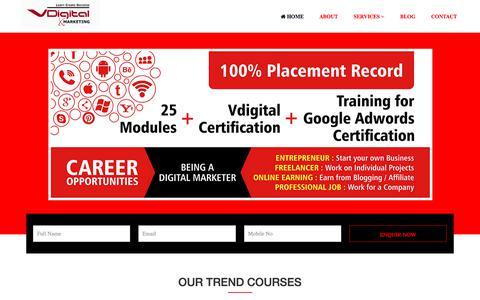 Screenshot of Home Page vdigitalmarketing.com - Digital Marketing course | Company in Mumbai | Andheri | 100% Placement Record - captured Aug. 27, 2019
