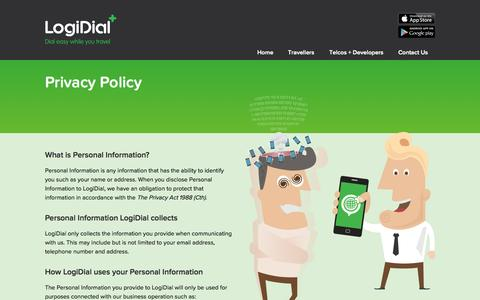 Screenshot of Privacy Page logidial.com - Privacy Policy - LogiDial - captured Sept. 30, 2014