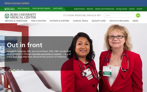 Screenshot of Home Page rush.edu - Rush University Medical Center - Rush University Medical Center - captured Jan. 17, 2016