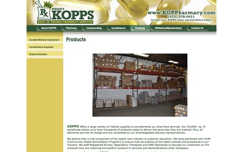 Screenshot of Products Page koppharmacy.com - KOPPS - Medical Supply Products at King of Prussia Pharmacy Services - 610-578-0411 - captured Oct. 6, 2014