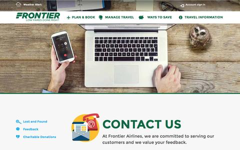 Screenshot of Contact Page flyfrontier.com - Contact Us   Frontier Airlines   Cheap Fares - captured Dec. 3, 2015