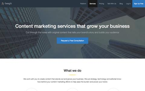 Screenshot of Services Page beegit.com - Content Marketing Services to Grow Your Business - captured Nov. 14, 2015