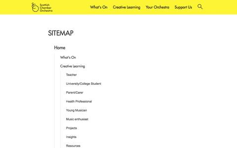 Screenshot of Site Map Page sco.org.uk - Sitemap | Scottish Chamber Orchestra - captured Sept. 5, 2016
