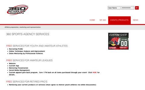 Screenshot of Services Page 360sportsagency.com - Services - captured Sept. 30, 2014
