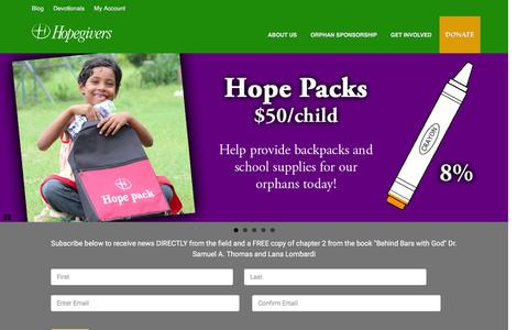 Screenshot of Home Page hopegivers.org - - Hopegivers International - captured March 15, 2016