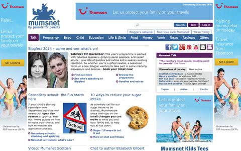 Screenshot of Home Page mumsnet.com - Product reviews, parenting tips and advice for parents | Mumsnet - captured Sept. 18, 2014