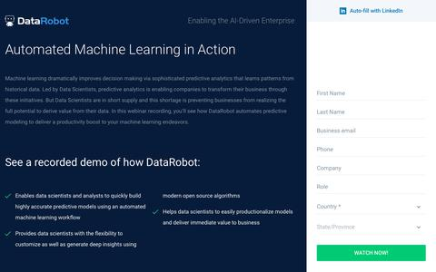 Screenshot of Landing Page datarobot.com - Automated Machine Learning in Action - DataRobot - captured Sept. 19, 2018
