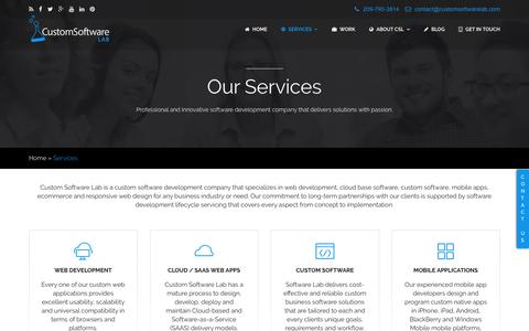 Screenshot of Services Page customsoftwarelab.com - Custom Software Development Company - Web | Mobile | Cloud - captured July 24, 2018