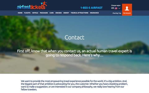 Screenshot of Contact Page airfasttickets.com captured Sept. 18, 2014