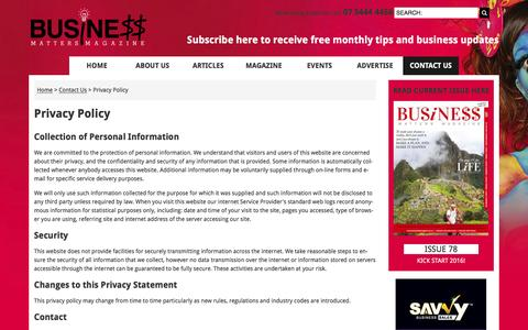 Screenshot of Privacy Page businessmattersmagazine.com.au - Privacy Policy, Contact Us, Business Matters - captured Feb. 8, 2016
