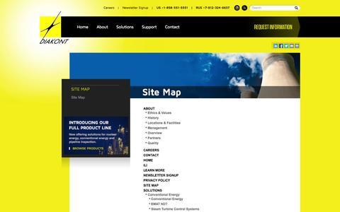 Screenshot of Site Map Page diakont.com - Diakont D40 Camera, Cameras for Nuclear Power Plants | Diakont - captured Sept. 30, 2014