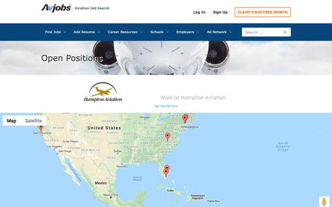 Screenshot of Maps & Directions Page avjobs.com - Map Aviation Jobs in United States - captured Oct. 2, 2018