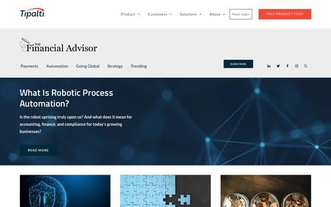 Screenshot of Blog tipalti.com - The Financial Advisor | Tipalti - captured Aug. 6, 2019