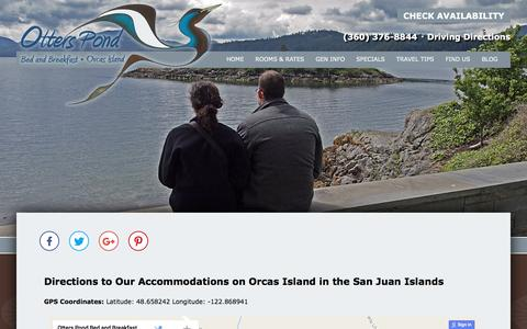 Screenshot of Contact Page Maps & Directions Page otterspond.com - Accommodations on Orcas Island in the San Juan Islands - captured April 13, 2017