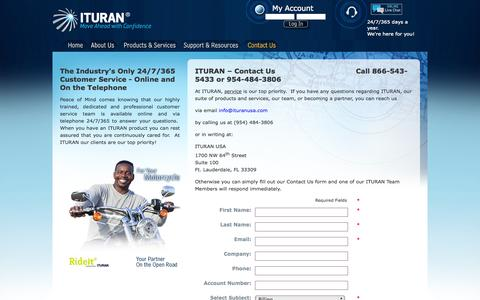 Screenshot of Contact Page ituranusa.com - Contact ITURAN – The global Leader in vehicle tracking, recovery, asset protection and personal customer service - captured Sept. 26, 2014