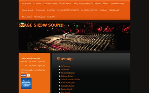 Screenshot of Site Map Page stageshowsound.com - STAGE SHOW SOUND - captured Sept. 30, 2014
