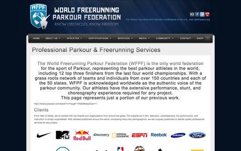 Screenshot of Services Page wfpf.com - Professional Parkour & Freerunning Services | World Freerunning & Parkour Federation - captured Nov. 4, 2017