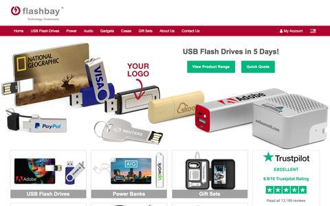 Screenshot of Home Page flashbay.com - Custom USB Flash Drives Imprinted with your Logo - captured Aug. 13, 2018