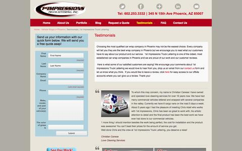Screenshot of Testimonials Page 1stimpressions.com - Phoenix Car Wrap Testimonials | Car Wrap Reviews - captured Oct. 7, 2014