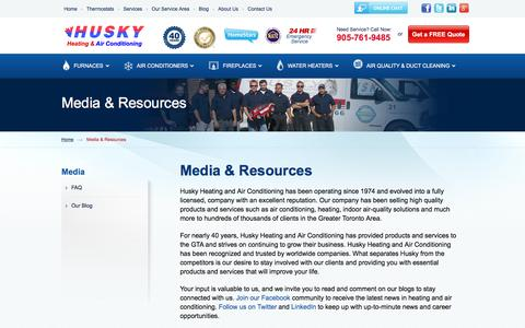 Screenshot of Press Page huskyair.com - Media Page for Husky Heating and Air Conditioning in Toronto - captured Feb. 2, 2016