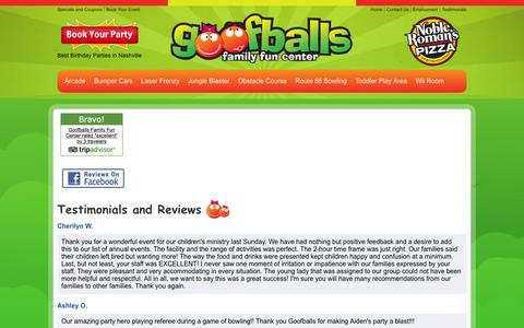Screenshot of Testimonials Page letsgetgoofy.com - Goofballs Family Fun Center - Testimonials and Reviews - captured Feb. 4, 2016