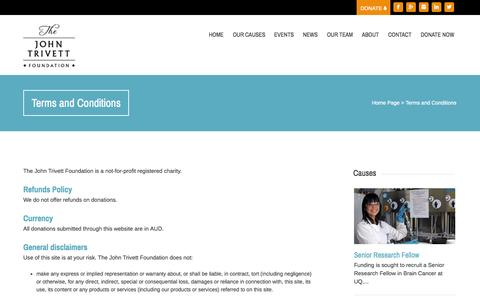 Screenshot of Terms Page johntrivettfoundation.org.au - Terms and Conditions - John Trivett Foundation - captured Sept. 30, 2014