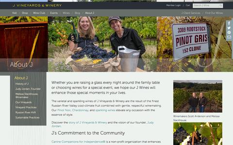 Screenshot of About Page jwine.com - About J - captured Oct. 3, 2014