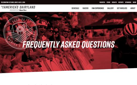 Screenshot of FAQ Page tourofamericasdairyland.com - Fan Experience: Cycling FAQs   Tour of America's Dairyland - captured Oct. 18, 2018