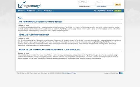 Screenshot of Press Page flightbridge.com - News - captured Sept. 30, 2014