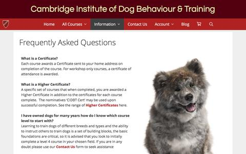 Screenshot of FAQ Page cidbt.org.uk - Frequently Asked Questions – Cambridge Institute of Dog Behaviour & Training - captured July 14, 2018