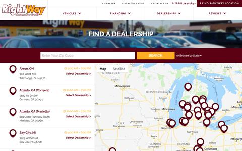 Screenshot of Locations Page rightway.com - Dealer Locator | RightWay Auto Sales - captured Oct. 19, 2018