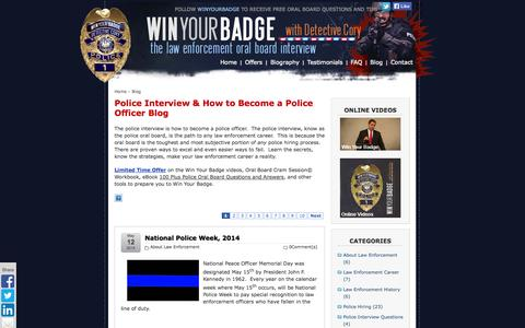 Screenshot of Blog winyourbadge.com - National Police Week, 2014 | Win Your Badge - The Police Oral Board Interview - captured Oct. 3, 2014