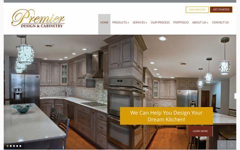 Screenshot of Home Page premierdesigncabinets.com - Best Cabinet Company   Premier Design - captured June 18, 2015