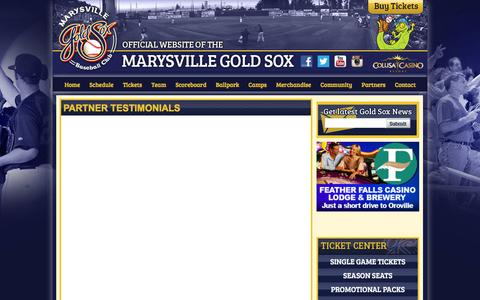 Screenshot of Testimonials Page goldsox.com - Official Website of the Marysville Gold Sox: Partner Testimonials - captured Feb. 12, 2016