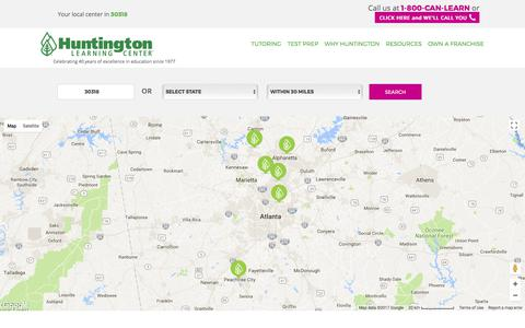 Screenshot of Locations Page huntingtonhelps.com - Find A Huntington Center Near You | Huntington Learning Center - captured Sept. 19, 2017