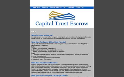 Screenshot of FAQ Page capitaltrustescrow.com - Capital Trust Escrow - captured Sept. 30, 2014
