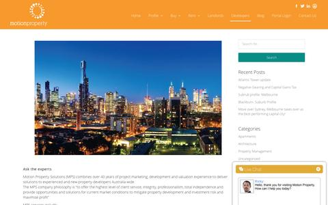 Screenshot of Developers Page motionproperty.com.au - Developers | Motion Property - captured Feb. 24, 2016