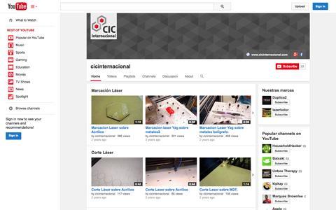Screenshot of YouTube Page youtube.com - cicinternacional  - YouTube - captured Oct. 22, 2014