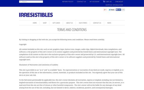 Screenshot of Terms Page irresistibles.com - Terms and Conditions | Irresistibles - captured Sept. 26, 2014