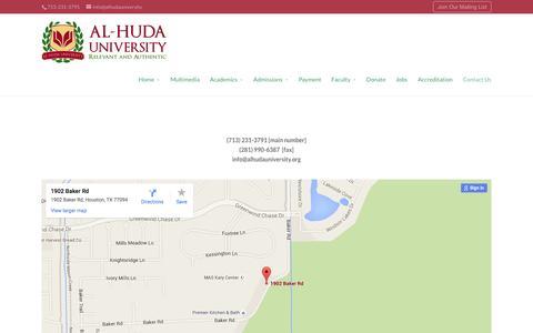 Screenshot of Contact Page alhudauniversity.org - Contact Us - Al-Huda University - captured Dec. 24, 2015