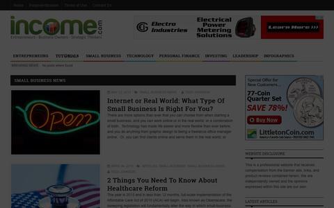 Screenshot of Press Page income.com - income.com     Small Business News - captured Sept. 19, 2014